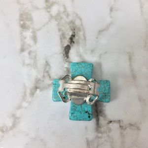 Jewelry - Turquoise Cross Adjustable Marble Statement Ring